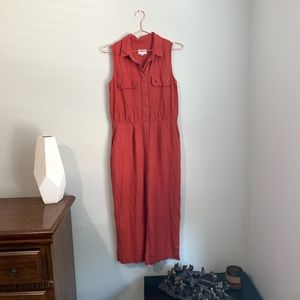 Pepe Jeans S Rust Color Linen Sleeveless Jumpsuit
